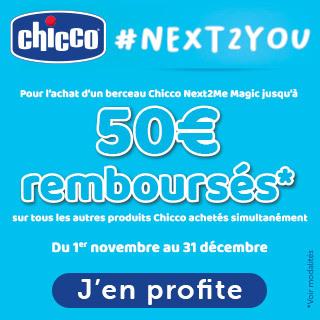 Chicco: Jusqu'à 50€ de remboursement sur toute la marque pour l'achat de berceau cododo Next2Me Magic